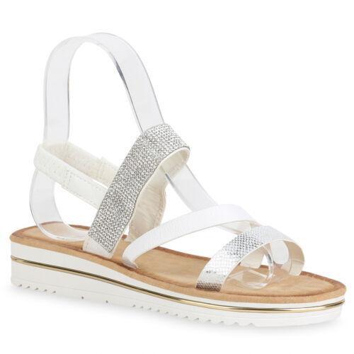 Damen Plateau Sandaletten Metallic Keilabsatz Strass 822870 Schuhe