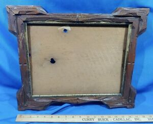 Antique-Carved-Wood-Large-Picture-Frame-Adirondack-Black-Forest-Gold-Trim-VTG