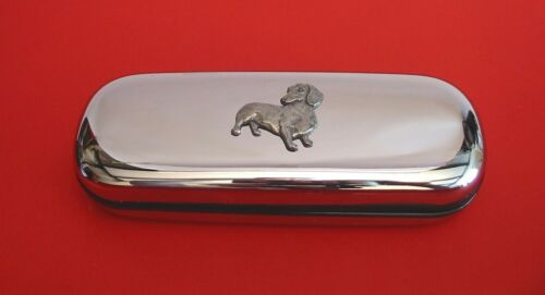 Dachshund Dog Pewter Motif On Chrome Glasses Case Mother Father Dachshund Gift