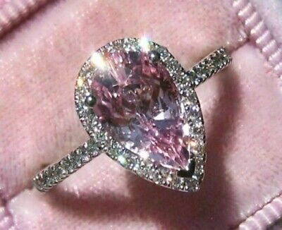 Certified 3.30Ct Cushion White /& Pink Diamond Engagement Ring in 14K White Gold