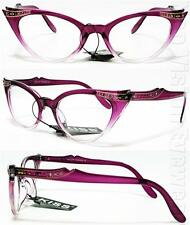 Rhinestone Cat Eye Glasses 50s Pinup Vintage Style Clear Lens Purple K17B CL