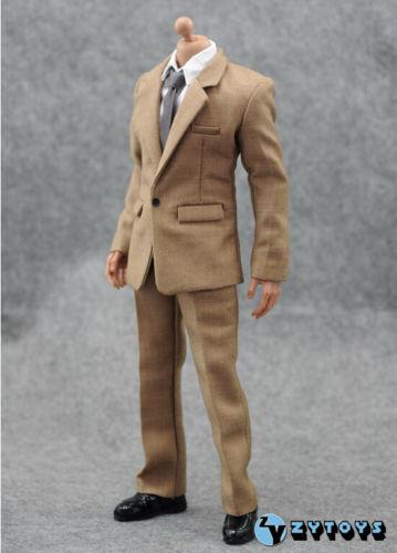 1 6 Scale Scale Scale KHAKI color Suit Full Set For 12  Hot Toys Male Figure U.S.A. SELLER 16feca