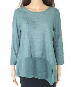 Ali-Miles-Womens-Knit-Top-Green-Size-Medium-PM-Petite-Chiffon-Trim-79-203