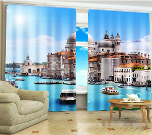 3D ciudad Ocean 0308 Cortinas de impresión de Cortina Blockout Foto Tela Cortinas Ventana Reino Unido
