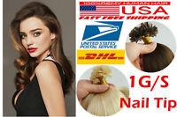 18'' Double Drawn Nail Tip U Tip Pre-bonded Keratin Human Hair Extensions 1g Us