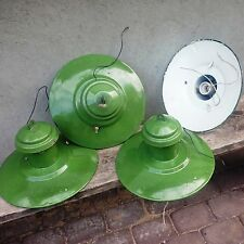 Vintage Industrial GREEN ENAMEL SHADE Pendant Lights Lamps