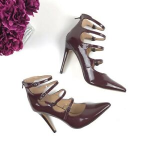 Express-Heels-Womens-Size-8-Burgundy-Red-Buckle-Strappy-Patent-Leather-NWT