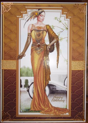 handmade Art deco Autumn birthday card with a graceful lady in rich gold