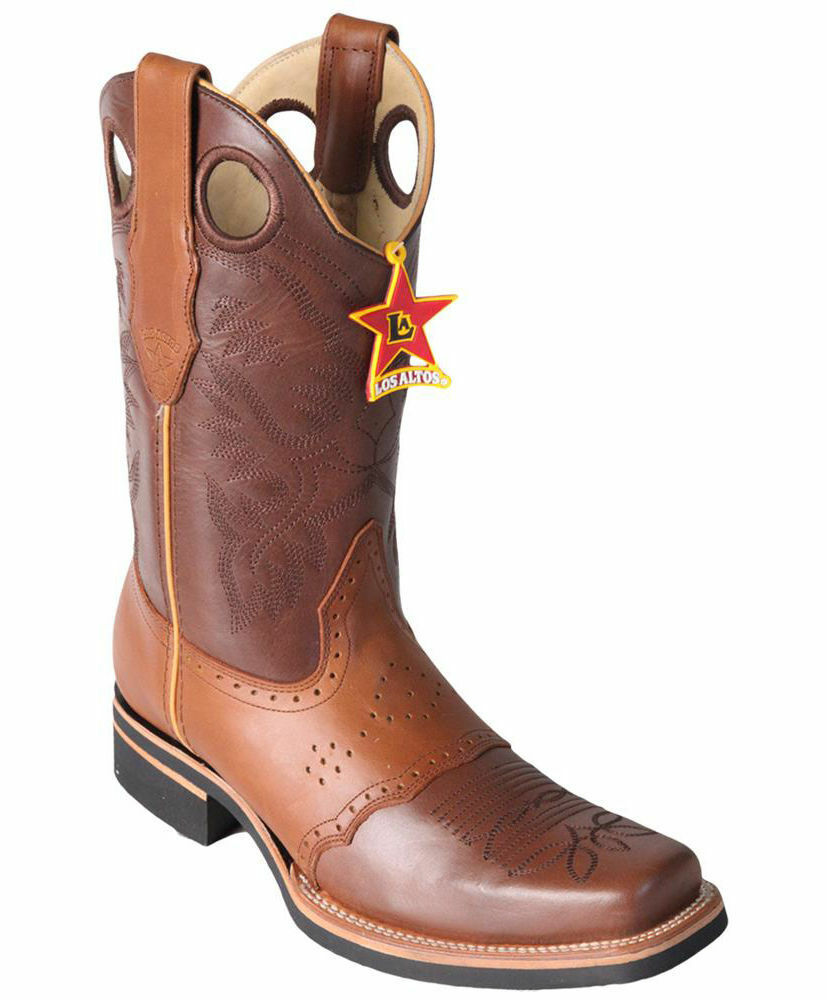 Los Altos BROWN Square Toe Western Rodeo Cowboy Boots Genuine Leather EE+
