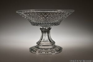 "Glass 3q 1800s Inverted Diamond By Unknown Flint Crystal 8.25"" W Compote Charitable Ca"