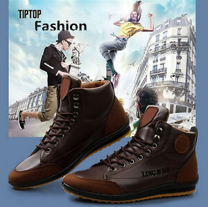 Casual-Men-039-s-Winter-Leather-High-Top-Sneaker-Lace-Up-Work-Shoes-Ankle-Boots