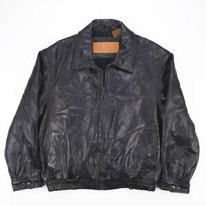 Vintage-Timberland-Noir-Veritable-Cuir-D-039-agneau-Veste-en-cuir-homme-taille-L