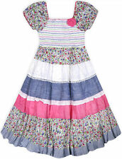 138cdfe7d13e Girls Short Sleeved New Floral Gypsy Dress Kids Summer Cotton Dresses Age  3-11 Y