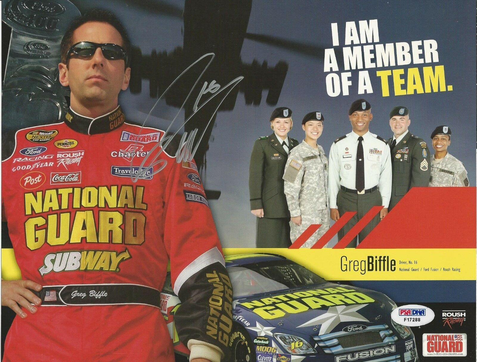 Greg Biffle.signed 8x11 PSA/DNA Cert # F17288