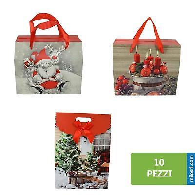Prezzo Basso 10 Busta Regalo Sacchetto Buste Auguri Sacchetti Shopper Con Babbo Natale