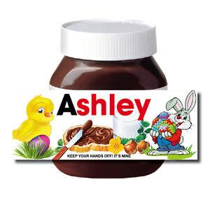 Coniglietto Pasquale Uovo regalo personalizzato Hazel NUT CHOCOLATE spread Etichetta Sticker Fun  </span>