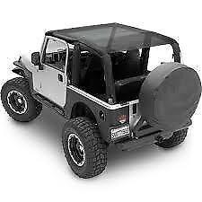 Smittybilt 94200 Black Mesh Extended Soft Top for Jeep Wrangler JK 2 Door