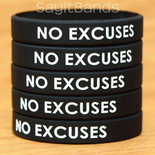High Quality Debossed Color Filled Silicone Bracelets 50 NO EXCUSES Wristbands