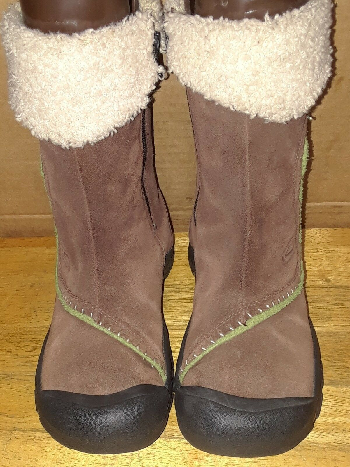 Keen Winter Brown Brown Brown Suede Sherpa Mid-Calf Boots Women's Size 6 Side Zipper 5241a8