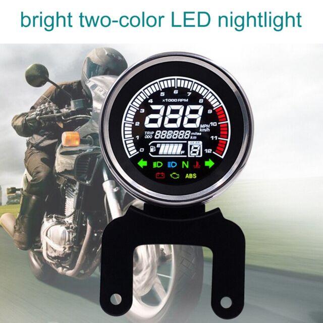 1x Universal Motorrad Tachometer Kilometerzähler Speedometer Drehzahlmesser