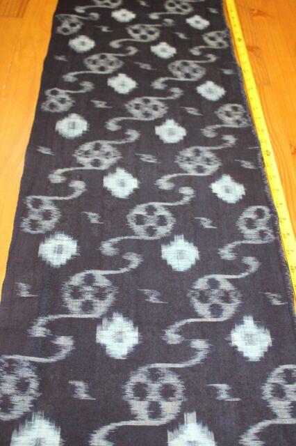 Vintage Japanese Indigo Cotton Kasuri Ikat Kimono Fabric Indigo Artisan Fabric