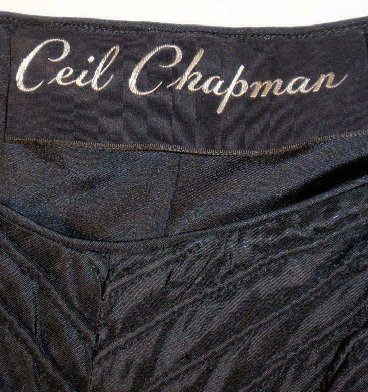 CEIL CHAPMAN 1950s Black Ribbed Chevron Cocktail … - image 10