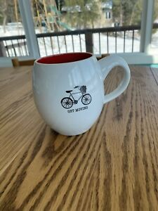 Get Moving White & Red Bicycle Ceramic Tea Coffee Mug/Cup 4.5in x 3in
