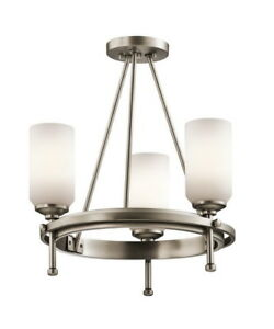 Kichler ladero 3 light convertible semi flush chandelier in antique image is loading kichler ladero 3 light convertible semi flush chandelier aloadofball Images