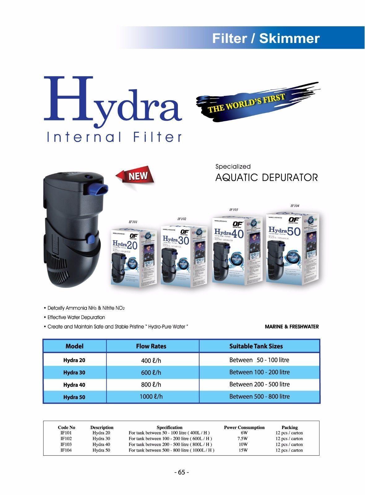 OF OCEAN FREE HYDRA 50 INTERNAL FILTER for 500-800 L (125- 200 Gallon) AQUARIUM