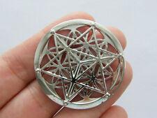 1 Merkaba meditation connector charm silver tone  M701