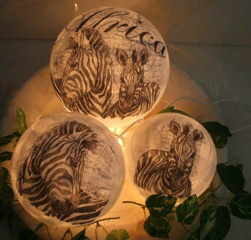 44 ♦ 3 Set Deko Zebra weiss Leuchtkugeln Handgefertigt ♦
