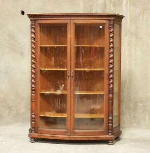 Image Is Loading Antique American Oak Curved Glass Front China Display