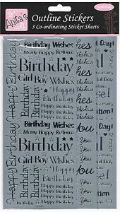 3-Sheets-of-Anitas-silver-outline-stickers-birthday-thank-you-best-wishes-cute