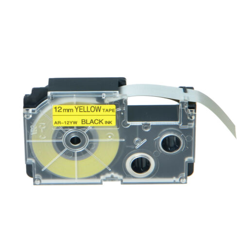 1PK Compatible Casio XR-12YW Black on Yellow Label Tape for EZ KL-C500 12MM X 8M