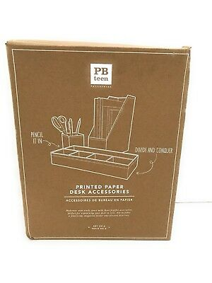Pottery Barn Teen 3 Piece Printed Desk Accessories Natural Kraft White Dot Ebay