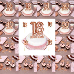 Rose Gold Happy Birthday Cake Cupcake Toppers Decoration ...