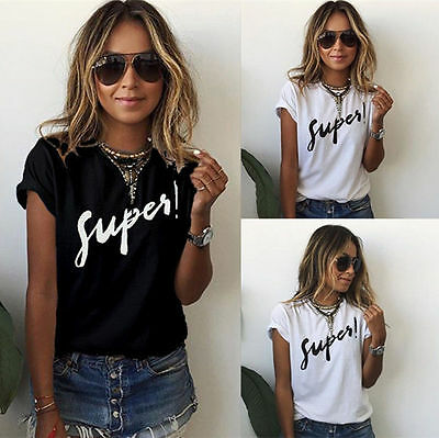 Fashion Women Summer Short Sleeve Loose Casual Letter Print T-Shirt Tops Blouse