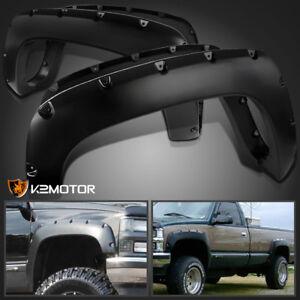88-98-Chevy-GMC-C-K-1500-Black-Pocket-Rivet-Style-Fender-Flares-Wheel-Cover
