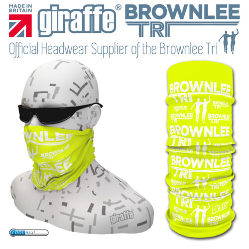 Brownlee Brothers Triathlon Multifunctional Headwear tube bandana Day Glo//white