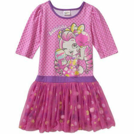 NWT Shopkins Shoppies Girls Bubbleisha Jessicake or kate Birthday Dress 4-12