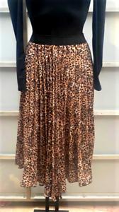 Ladies Brown Pleated Snake Print Midi Skirt UK Size 8-14