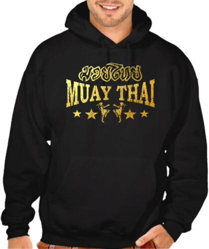 Men/'s Gold Foil Muay Thai Stars Black Hoodie Sweater MMA Fighting Martial Arts