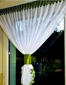 Hand-Made-Voile-Crushed-Net-Curtains-Small-Window-free-P-amp-P-For-You-Many-Colours