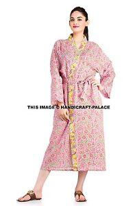 Indian Pink Long Kimono Printed Dress Women Robe Dressing Gown