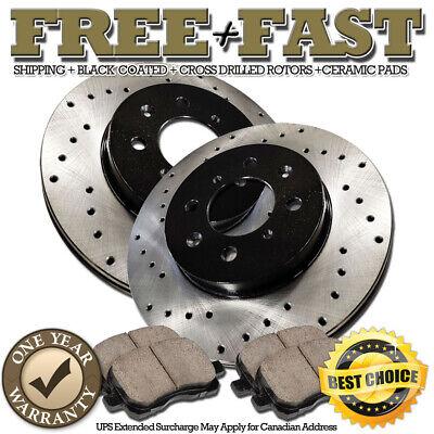 P0307 2 Front Drilled Brake Rotors and 4 Ceramic Pads