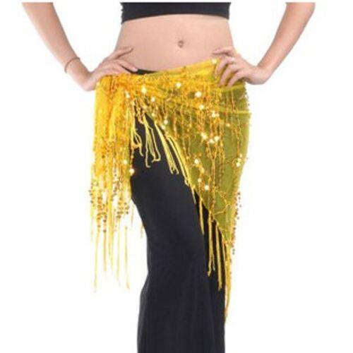 TRIANGLE BELLY DANCE HIP SCARF WRAP BELT DANCER SKIRT COSTUME SEQUINS COSTUME UK