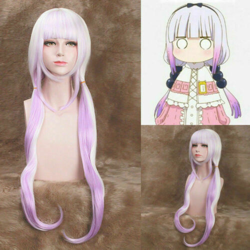 Miss Kobayashi/'s Dragon Maid Kanna Kamui Cosplay Long Wig Balls Tail Horns UK