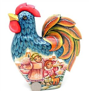BLUE-ROOSTER-FIGURE-Russian-Hand-Carved-Painted-Winter-scene-Beautiful-Children
