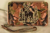 Montana West Pink Camo Collection Wallet Deer Embroidered Cross Zip Clutch