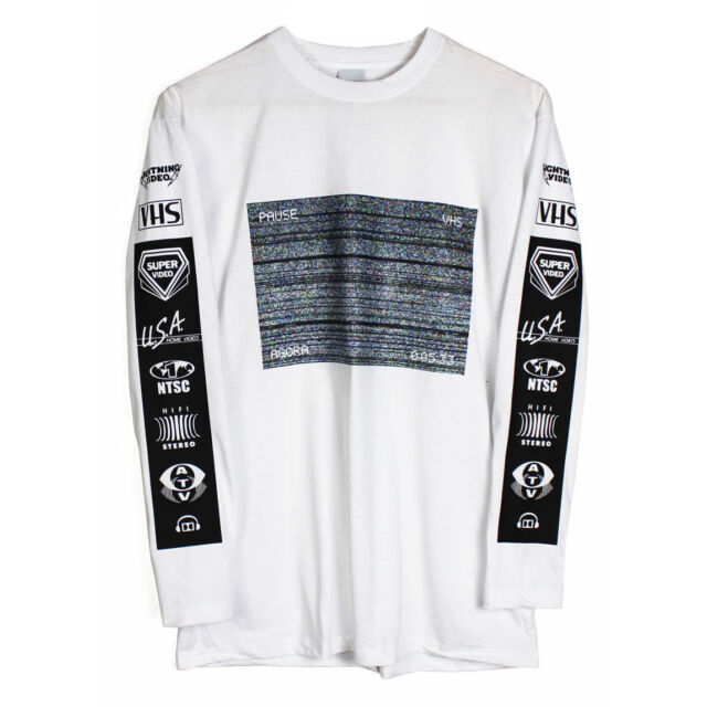Agora VHS Static Long Sleeve T Shirt Top  hood Glitch by been air trill NEW